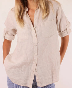 HUT - Boyfriend Linen Shirt - Natural Chambray