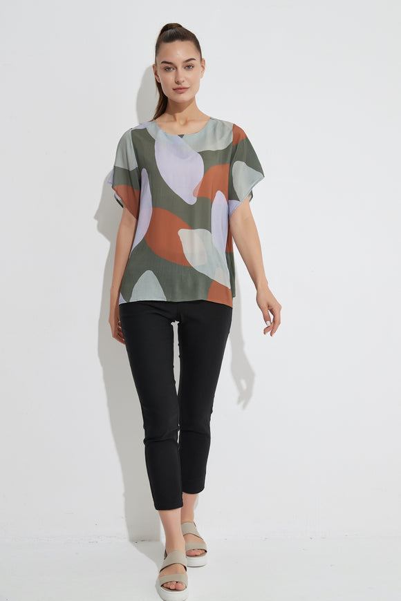 Tirelli - Flutter Sleeve Top - Moss Foliage