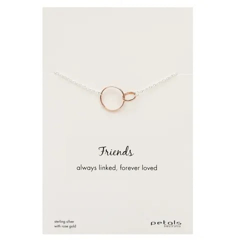 Friends Linked Necklace - Sterling Silver with Rose Gold
