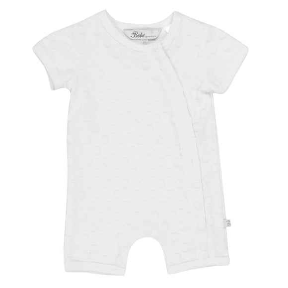 Bebe - Spot Layette Short Sleeve Romper - Cloud