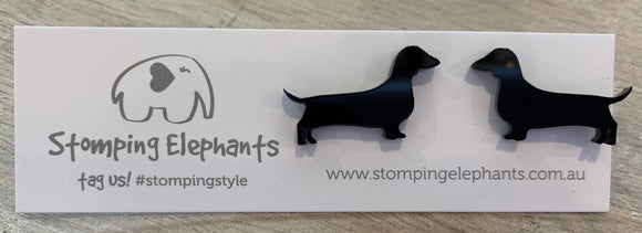 Stomping Elephants Dachshund Sausage Dog Earrings