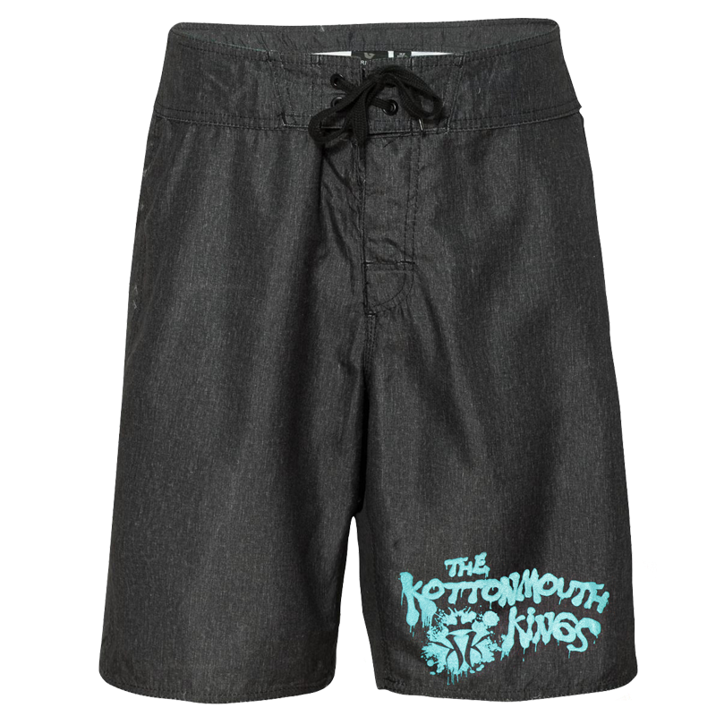 Board Shorts (Charcoal W/ Blue Lettering)