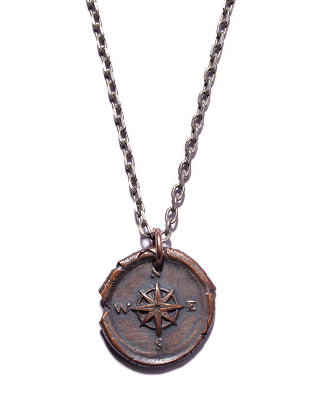 COPPER WAX SEAL COMPASS NECKLACE - SOVAJ - 1