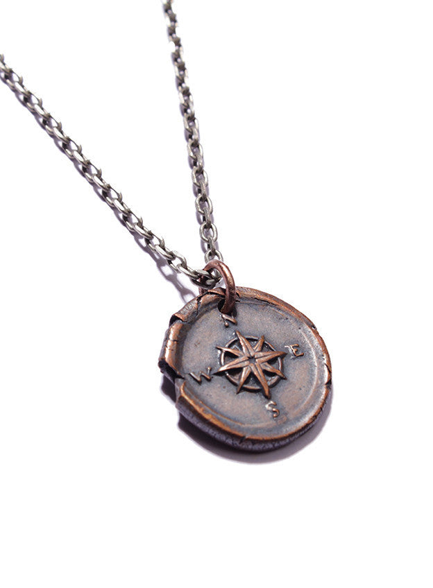 COPPER WAX SEAL COMPASS NECKLACE - SOVAJ - 3