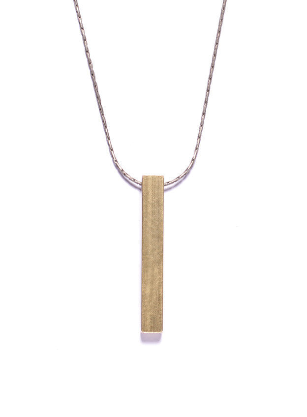 MEDIUM BRASS BAR NECKLACE - SOVAJ - 1