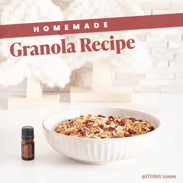 Homemade Granola with Cinnamon Essential Oil