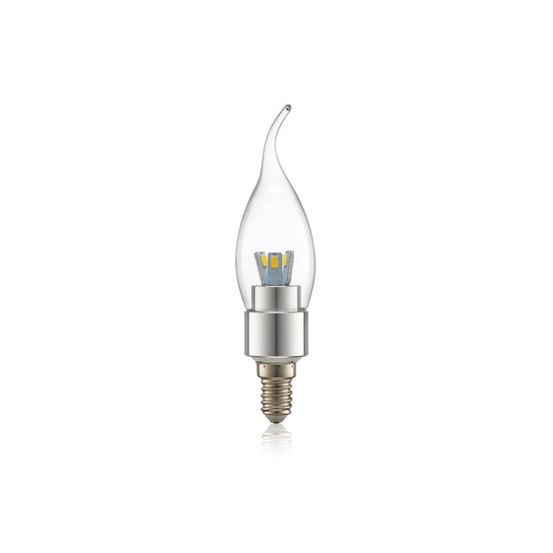 LED 3 WATT FLAME CLEAR CANDLE E14 230V NON DIMMABLE LAMP