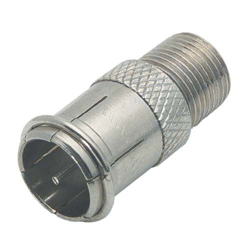 Coaxial Adapter, F Male Push-on / F Female BA124