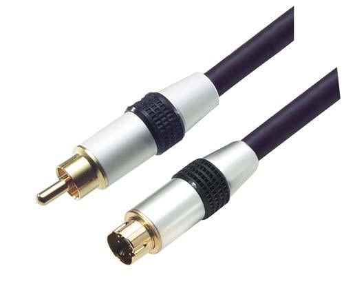 Cable assembled-s-video-male-single-rca-male-100-ft