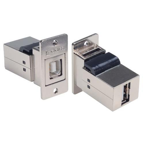 ECF504-BA  Panel Mounted USB 2.0 Coupler - Shielded, Type B/A Connectors