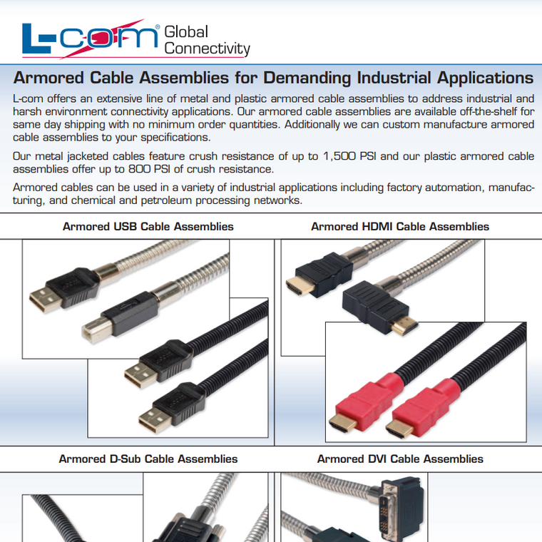 L-Com Armoured Cable Assemblies