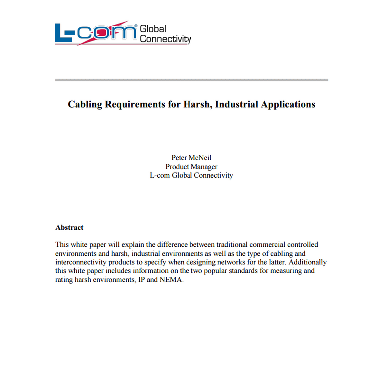 L-Com Cabling Requirements for Harsh Industrial Applications