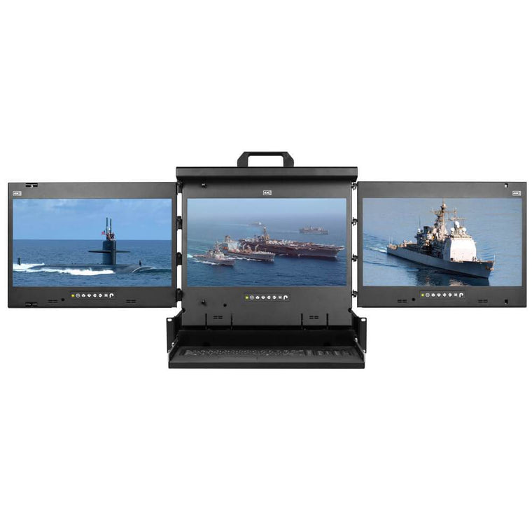 "Cyberview 2U Multi-display Console Drawer, 3 x 19"", 1280 x 1024 Res, Keyb. T/Pad Mouse, VGA & DVI"