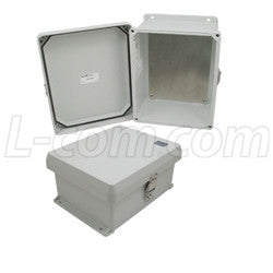 10x8x5-inch-ul-listed-weatherproof-nema-4x-enclosure-with-blank-aluminum-mounting-plate L-Com Enclosure