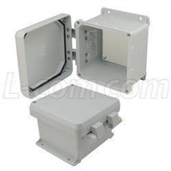 6x6x4-inch-ul-listed-weatherproof-nema-4x-enclosure-non-metal-mounting-plate-non-metallic-hinges L-Com Enclosure
