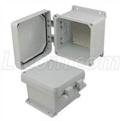 6x6x4-inch-ul-listed-weatherproof-nema-4x-enclosure-w-aluminum-mounting-plate-non-metallic-hinges L-Com Enclosure