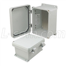 8x6x4-inch-ul-listed-weatherproof-nema-4x-enclosure-w-aluminum-mounting-plate-non-metallic-hinges L-Com Enclosure