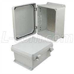 10x8x5-inch-ul-listed-weatherproof-nema-4x-enclosure-w-aluminum-mounting-plate-non-metallic-hinges L-Com Enclosure
