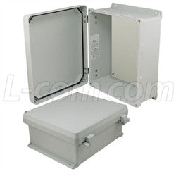 12x10x5-inch-ul-listed-weatherproof-nema-4x-enclosure-non-metal-mount-plate-non-metallic-hinges L-Com Enclosure