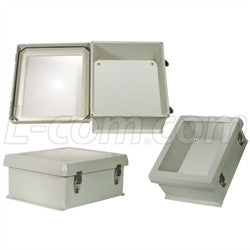 12x10x5-inch-weatherproof-windowed-nema-4x-enclosure-with-blank-starboard-mounting-plate L-Com Enclosure