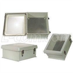 12x10x5-inch-weatherproof-windowed-nema-4x-enclosure-with-blank-aluminum-mounting-plate L-Com Enclosure
