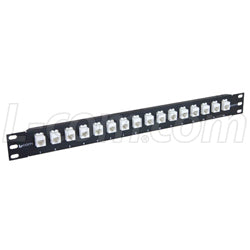 "1.75"" 16 Port Low Profile Straight Category 5e Feed-Thru Panel, Unshielded Low Profile Mini-Coupler"