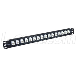 "1.75"" 16 Port Low Profile Category 6 Feed-Thru Panel, Unshielded Low Profile Mini-Coupler"