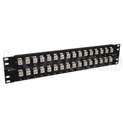 "3.50"" 32 Port Low Profile Category 6 Feed-Thru Panel, Shielded Low Profile Mini-Coupler"