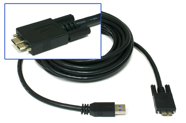 USB3.0 A to Micro B with locking screws cable - 3 Metres