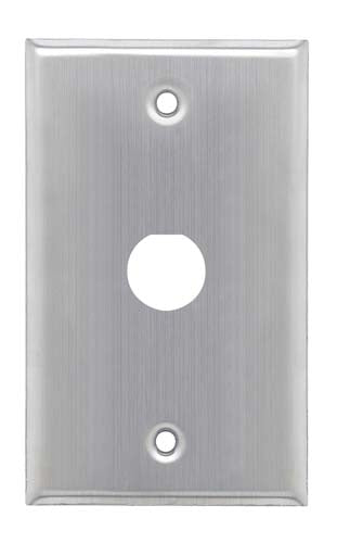 "Stainless Wall Plate, One 0.75"" dia. D-hole"