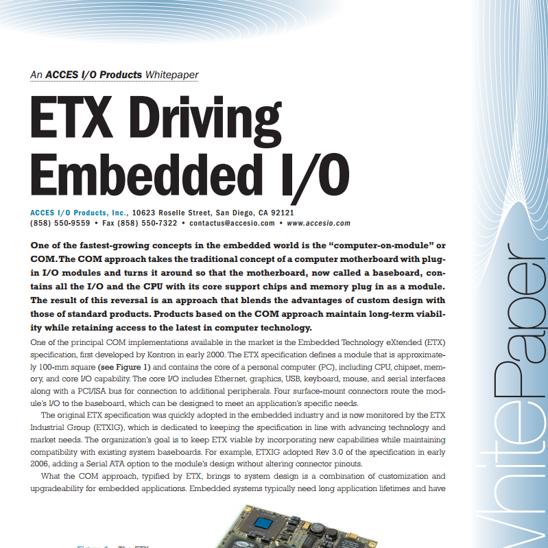 ETX Driving Embedded I/O - Acces I/O PDF