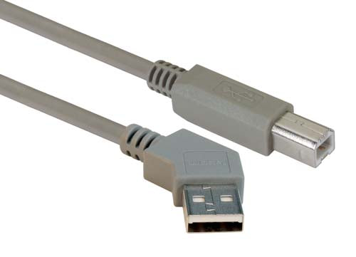 45 Degree USB Cable, 45 Degree Left Angle A Male / Straight B Male, 0.3 m