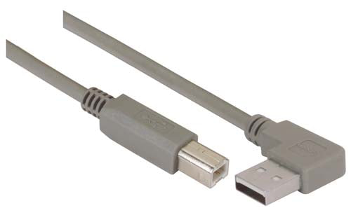 CA90LA-B-2M  Right Angle USB Cable, Left Angle A Male/Straight B Male, 2.0m