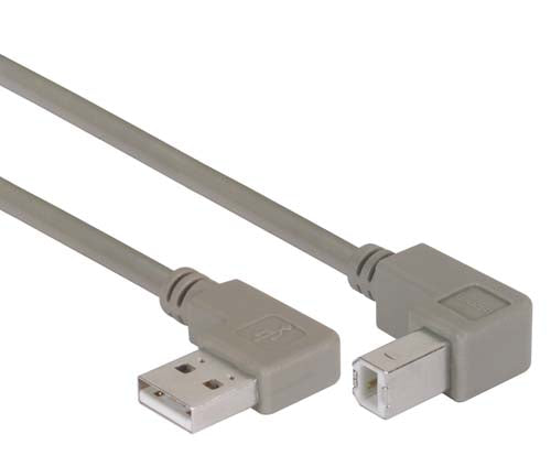 Right Angle USB Cable, Right Angle A Male/Down Angle B Male, 2.0m