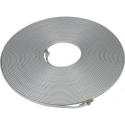 CAT7-FLT-14-GRAY   -   CAT7 Flat Stranded Shielded Cable Ethernet Ribbon Patch Cord 14 ft RJ45 - RJ45 Gray