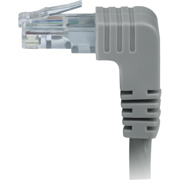 CAT5E-DAS-10-GRAY   -   CAT5E Down Angle Straight Ethernet Network Cable 90-Degree 10 ft RJ45 - RJ45