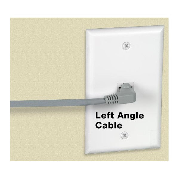 CAT5E-LA-2-WHITE   -   CAT5E Left Angle Ethernet Network Cable 90-Degree Patch Cord 2 ft RJ45 - RJ45 White