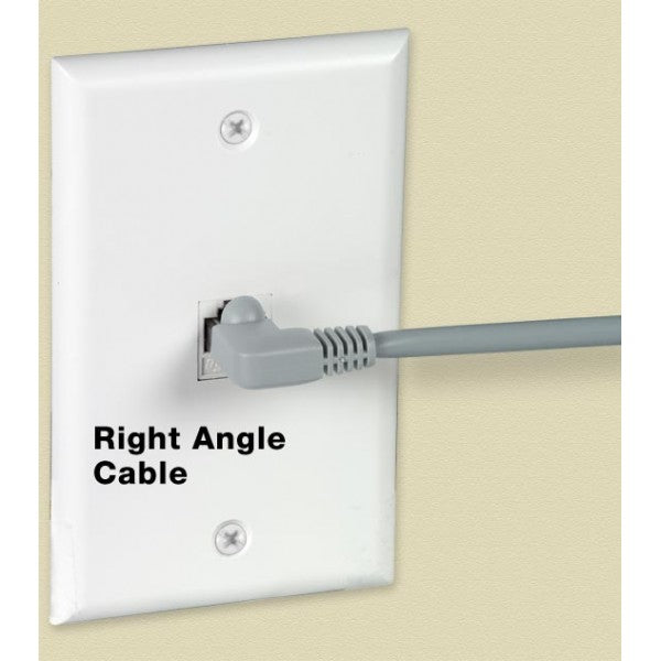 CAT5E-RA-10-GRAY   -   CAT5E Right Angle Ethernet Network Cable 90-Degree Patch 10 ft RJ45 - RJ45 Gray