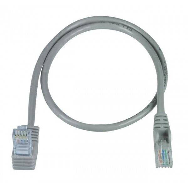 CAT5E-UAS-10-GRAY   -   CAT5E Up Angle Straight Ethernet Network Cable 90-Degree 10 ft RJ45 - RJ45 Gray