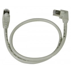 CAT6 Left Angle to Straight Shielded Patch Cords, Operating Temperature Range: -4 to 140°F 2ft