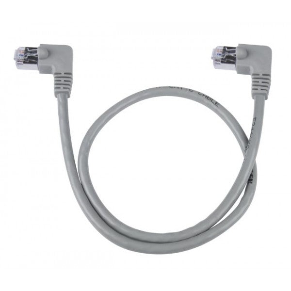 CAT6-LA-15-GRAY-SHLD   -   CAT6 Left Angle Ethernet Network Cable 90-Degree Shielded 15 ft RJ45 - RJ45 Gray
