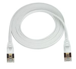 CAT7-SF-5-WHITE   -   CAT7 Super Flat Stranded Shielded Cable Ethernet Ribbon Patch 5 ft RJ45 - RJ45 White