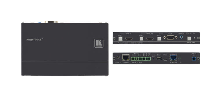 DIP-20 4K60 4:2:0 HDMI & VGA Auto Switcher and PoE Provider over HDBaseT with Maestro Room Automation