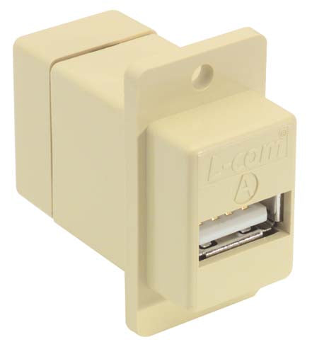 Coupler Panel Mount USB A/B Ivory ECF504-UAB