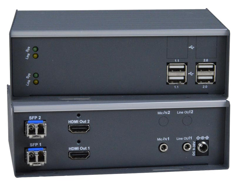 ST-IPFOUSB4K-R-LCDH Dual Monitor 4K 10.2Gbps HDMI USB KVM Extender with Video Wall Support Over IP via Two Duplex LC Singlemode/Multimode Fiber Optic Cables