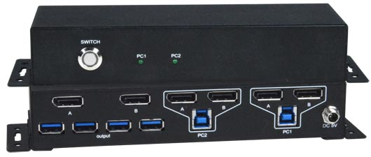 2-Port Dual Monitor 4K DisplayPort USB KVM Switch with Built-In USB 3.2 Hub
