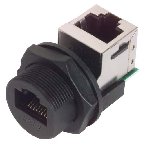 WPRJ-FTRACat5e  IP67 RJ45 Right Angle Feed-Through Coupler