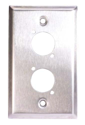 Stainless Steel Wall Plate, Two XLR Openings