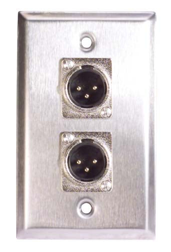 Stainless Steel Wall Plate 2 XLR Male