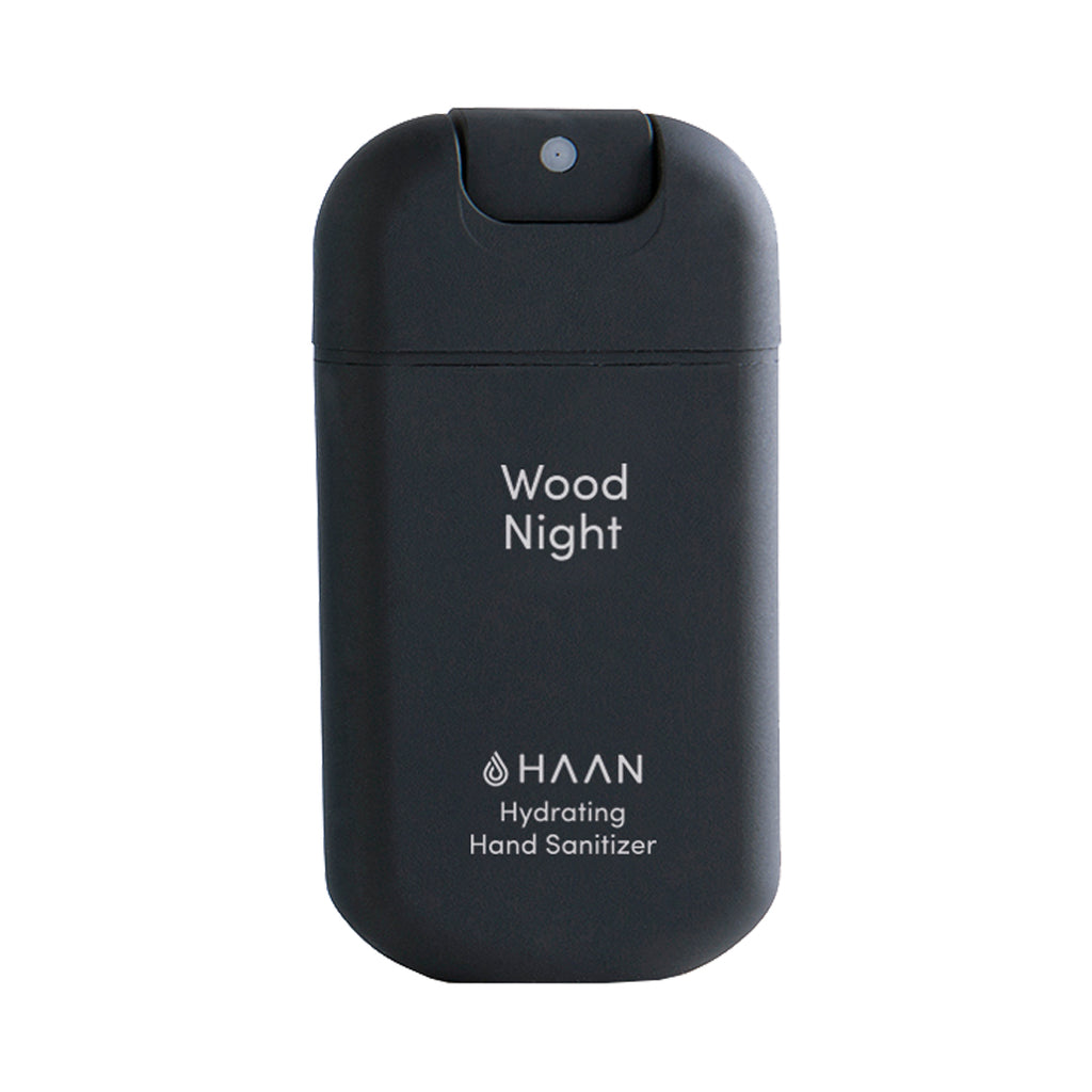 Haan hand sanitizer - Wood Night - 30ml spray bottle.